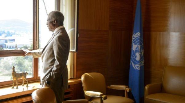 Kofi Annan, dans son bureau à Genève, en Suisse, le 20 juillet 2012