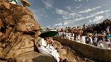 Repentant Muslims gather on Mount Arafat for haj climax