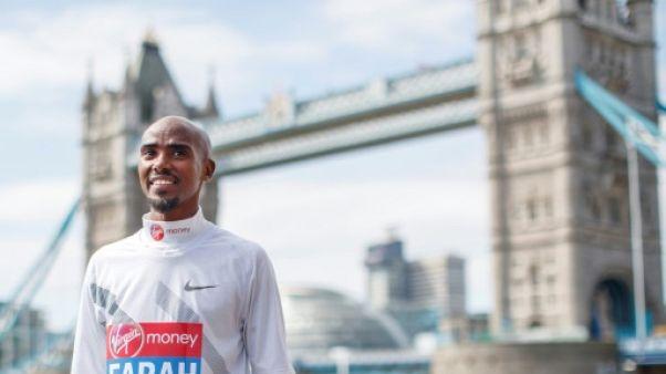 Le Britannique Mo Farah lors du marathon de Londres le 17 avril 2018