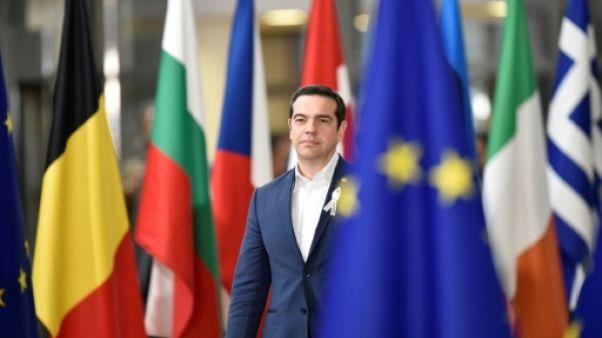 Le Premier ministre grec Alexis Tsipras à Bruxelles, le 22 mars 2018