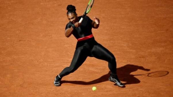 Serena Williams lors du premier tour de Roland-Garros le 29 mai 2018