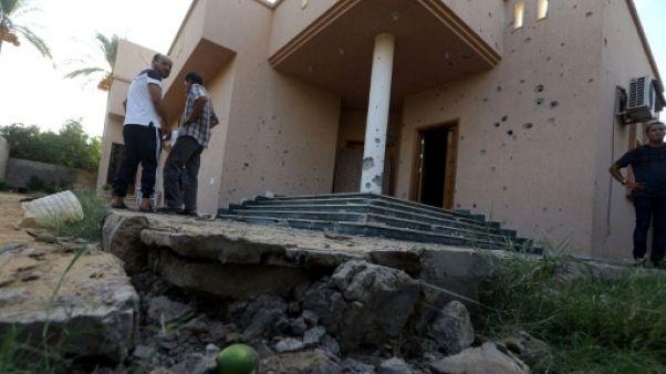 Un site visé par un tir de mortier à Tripoli, le 30 août 2018