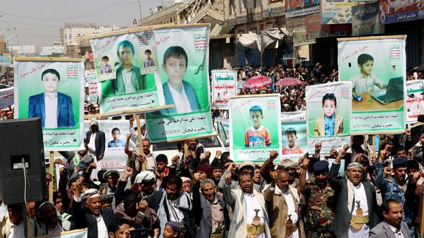 Thousands in Yemen's Saada protest over air strikes that killed children