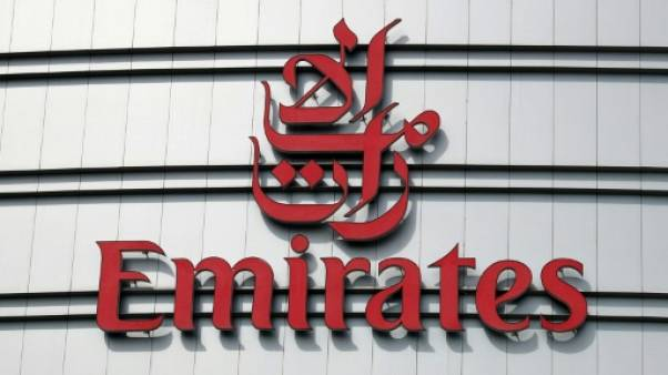 Logo de la compagnie aérienne Emirates, prise le 10 août 2017 à Dubai