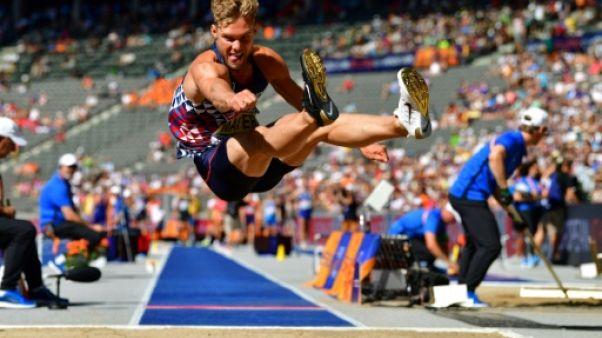 Kevin Mayer lors du saut en longueur des Mondiaux de Berlin, le 7 août 2018