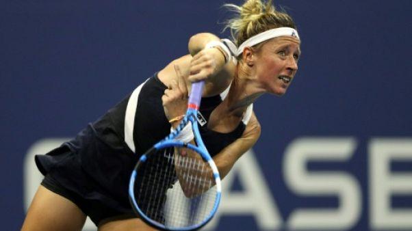 Pauline Parmentier lors du premier tour de l'US Open le 28 août 2018