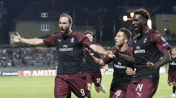 Europa League: Milan va, 1-0 a Dudelange