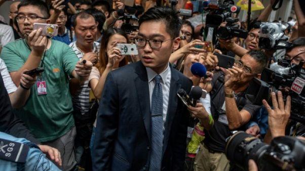 Andy Chan (c), chef de file du Parti national, le 14 août 2018 à Hong Kong