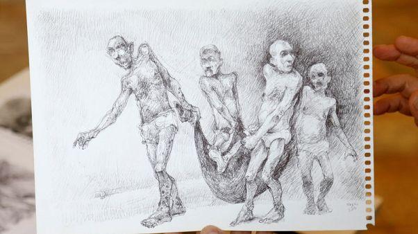 """فنان سوري معارض يرسم مشاهد التعذيب """"ليواصل الثورة"""""""