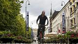 Un cycliste dans les rues d'Oslo, le 14 septembre 2018