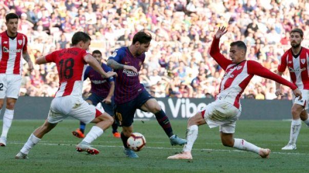 Espagne: le Barça accroché par l'Athletic 1-1 et menacé en tête