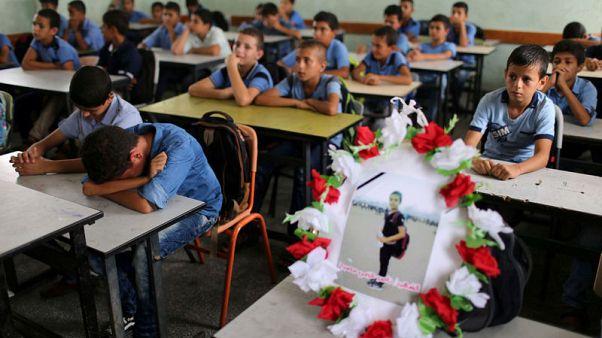 تلاميذ فلسطينيون يؤبنون زميلا قتلته القوات الإسرائيلية على حدود غزة