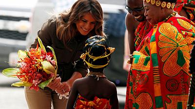 U.S. first lady Melania Trump lays wreath at 'emotional' slave castle in Ghana