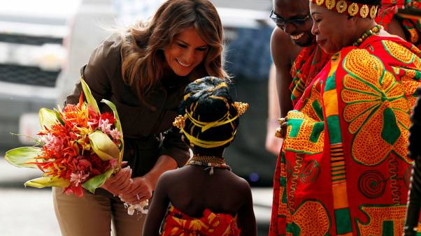 U.S. first lady Melania Trump lays wreath at 'emotional' slave castle in Ghana