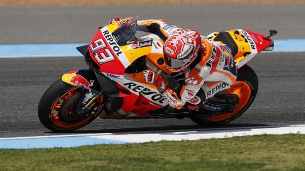 Motorcycling - Marquez takes 50th pole in Thailand