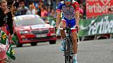 Thibaut Pinot lors de la 30e étape du Tour d'Espagne le 15 septembre 2018