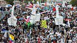 Manifestation d'étudiants à Bogota, le 17 octobre 2018 en Colombie
