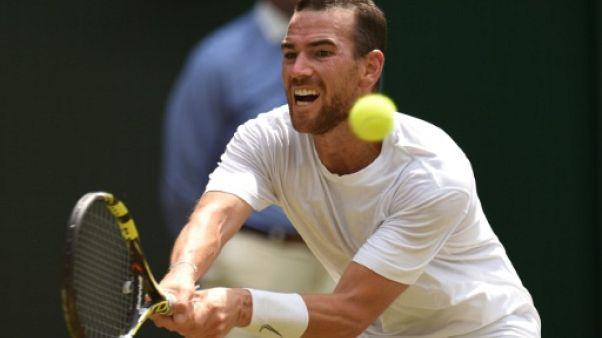Le Français Adrian Mannarino au 4e tour de Wimbledon le 9 juillet 2018