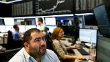 European shares make a tentative rebound; Bank shares weigh
