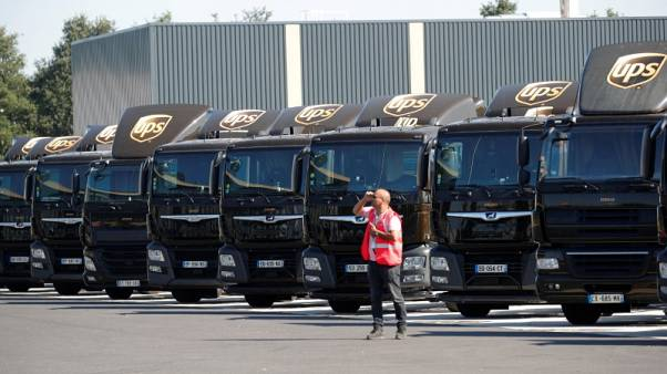 UPS strong profit gain overshadowed by trade war worries, shares fall