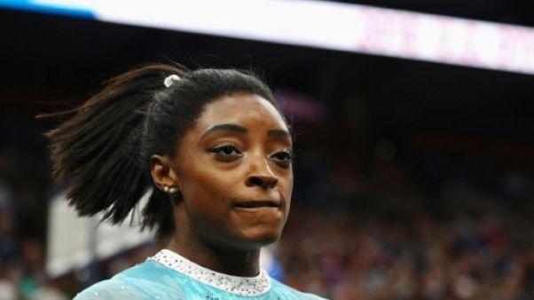 Simone Biles lors des championnats de gymnastique à Boston le 20 août 2018