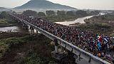 La caravana de migrantes hondureños parte de Arriaga, Chiapas