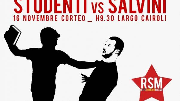 A Milano poster con Salvini-topo