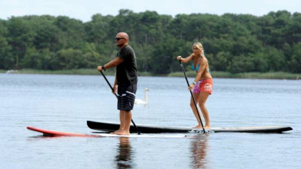Des adeptes du Stand Up Paddle, le 2 août 2012 à Lacanau