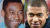 Photomontage réalisé le 1er juillet 2018 montrant Pelé (g) et Kylian Mbappé