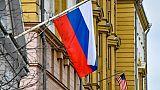 Un drapeau russe à Moscou le 2 avril 2018