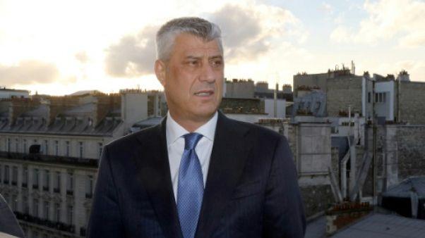 Le président kosovar Hashim Thaçi pose à Paris, le 9 novembre 2018