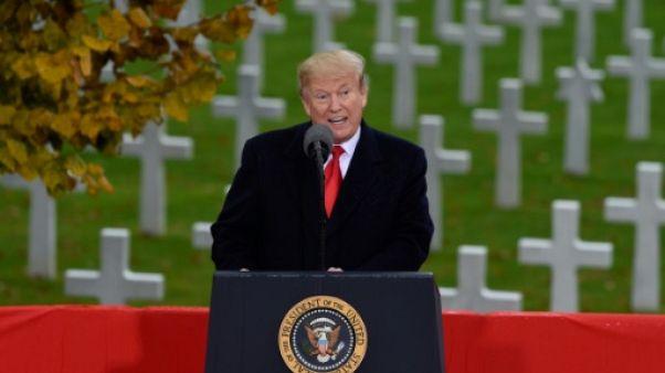 """Grande Guerre: Trump rend hommage aux """"courageux Américains"""""""