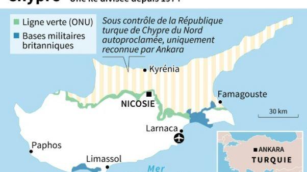 Carte de Chypre, divisée depuis 1974