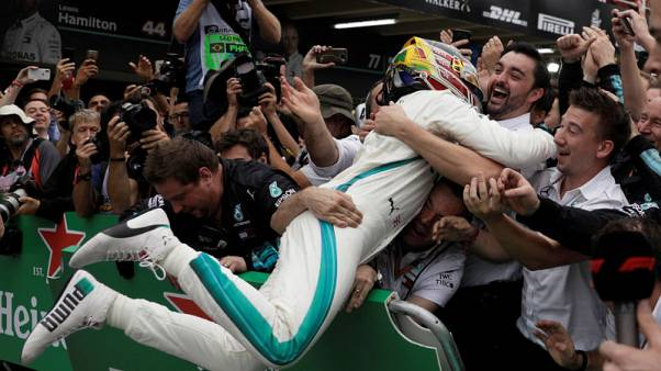 High fives at Mercedes as Hamilton sets sights on six