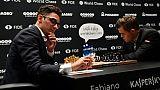 Echecs: Carlsen et Caruana à égalité à mi-parcours du championnat du monde