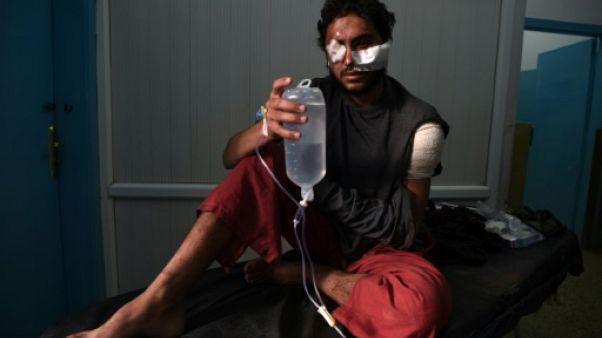 Un homme blessé dans l'attentat du 20 novembre 2018 à Kaboul.