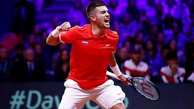 Coric gives Croatia perfect start in Davis Cup final