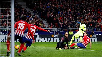 Dembele salvages Barcelona late draw at Atletico