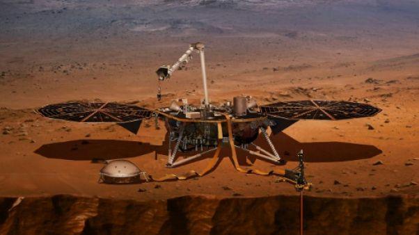 Illustration d'InSight avec ses instruments déployés sur le sol de Mars