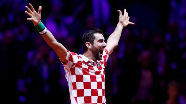 شيليتش المتألق يمنح كرواتيا فوزا تاريخيا بنهائي كأس ديفيز للتنس