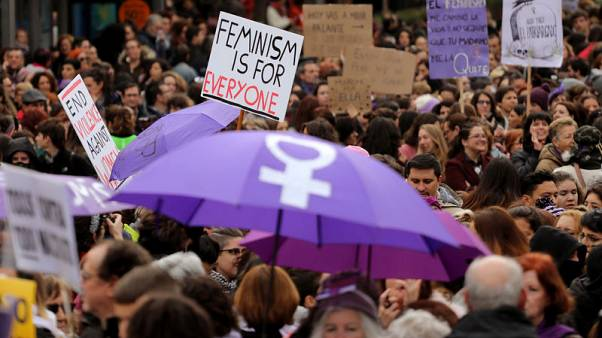 Thousands march in Spanish cities to protest violence against women