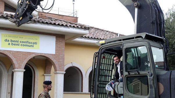 Italy's interior minister leads demolition of mafia villa