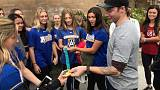 Olympians make surprise visit to California schools hit by wildfire