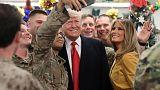في أول زيارة لمنطقة صراع.. ترامب يتفقد القوات الأمريكية بالعراق