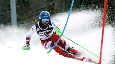 Marco Schwarz lancé vers sa victoire en slalom à Zagreb, le 6 janvier 2019