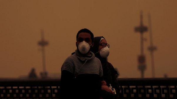 شاهد: عاصفة رملية تجتاح مصر وتشل حركة الطيران والموانئ