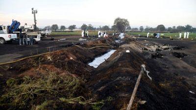 Le site de l'incendie d'un oléoduc à Tlahuelilpan le 19 janvier 2019