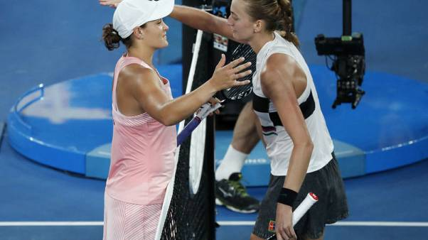 Kvitova crashes Barty party to reach semi-finals