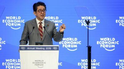 Le Premier ministre japonais Shinzo Abe à Davos le 23 janvier 2019