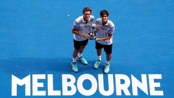 Tennis - Frenchmen Herbert, Mahut win men's doubles title in Melbourne